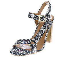 CLARITY28 BLACK WHITE TRIBAL OPEN TOE SIDE STRAP GOLD DETAIL STACKED HEEL - Wholesale Fashion Shoes