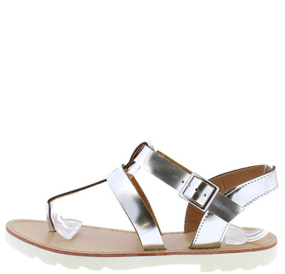 Clark01 Silver Metallic Pu Studded Ankle Strap Thong Sandal - Wholesale Fashion Shoes