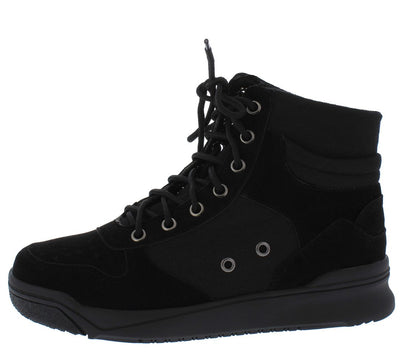 Classic2 Black Canvas Lace Up Sneaker Boot - Wholesale Fashion Shoes