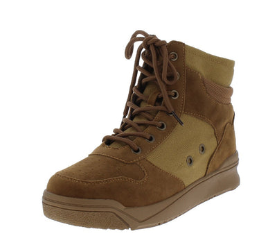 Classic2 Tan Canvas Lace Up Sneaker Boot - Wholesale Fashion Shoes