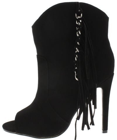 Classy1 Black Silver Chain Detailing Side Fringe Boot - Wholesale Fashion Shoes