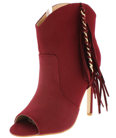 Classy1 Wine Gold Chain Detailing Side Fringe Boot - Wholesale Fashion Shoes