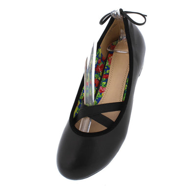 Lauretta778 Black Ballerina Elastic Bow Flat - Wholesale Fashion Shoes