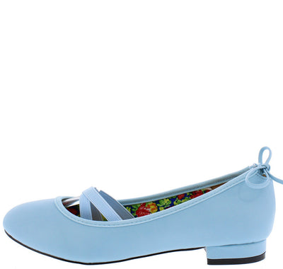 Lauretta778 Serenity Blue Ballerina Elastic Bow Flat - Wholesale Fashion Shoes