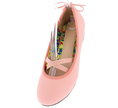 Lauretta778 Dusty Rose Ballerina Elastic Bow Flat - Wholesale Fashion Shoes