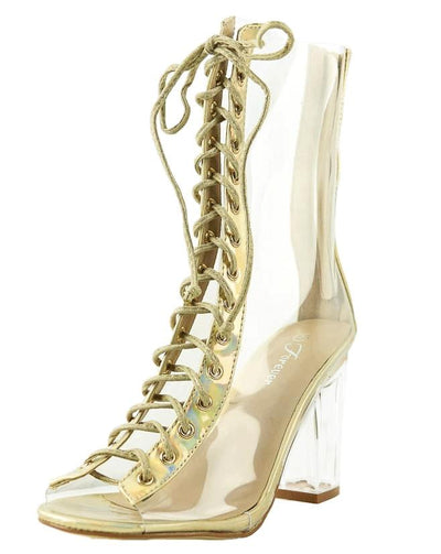 Clear45 Champagne Peep Toe Lace Up Lucite Boot - Wholesale Fashion Shoes