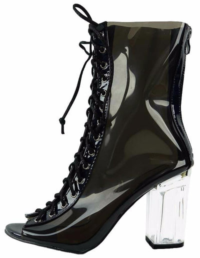 Clear45 Black Peep Toe Lace Up Lucite Boot - Wholesale Fashion Shoes