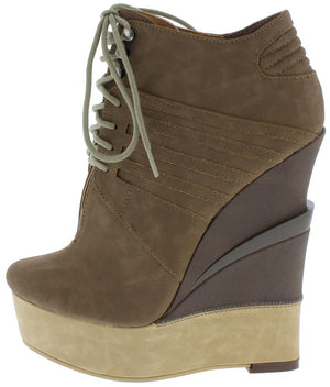 06f1d6fa1e66 Alice114 Taupe Lace Up Platform Wedge Ankle Boot - Wholesale Fashion Shoes
