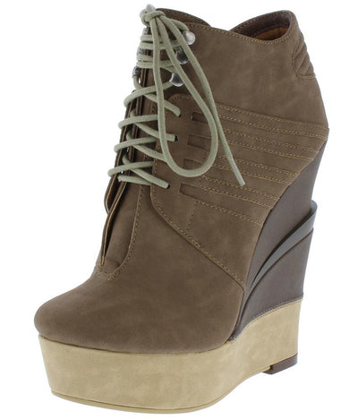 Alice114 Taupe Lace Up Platform Wedge Ankle Boot - Wholesale Fashion Shoes