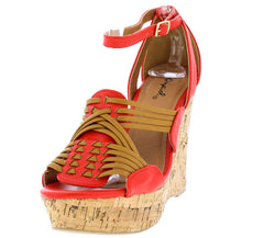 CLEMENCE212 BLOOD ORANGE WOMEN'S WEDGE - Wholesale Fashion Shoes