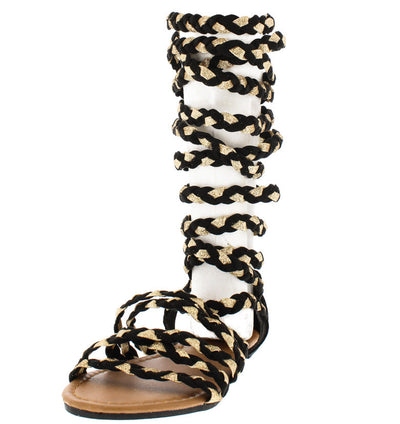Cleo1 Black Gold Metallic Braided Gladiator Boot - Wholesale Fashion Shoes