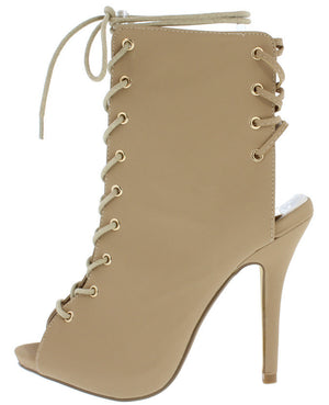 4d0d2475da Cleo4 Natural Open Toe Exposed Heel Lace Up Heel - Wholesale Fashion Shoes