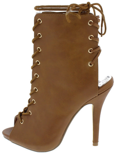 Cleo4 Tan Open Toe Exposed Heel Lace Up Heel - Wholesale Fashion Shoes