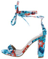 Cleone1 Floral Open Toe Ankle Wrap Block Wedge - Wholesale Fashion Shoes