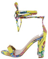 Cleone1 Yellow Floral Open Toe Ankle Wrap Block Wedge - Wholesale Fashion Shoes