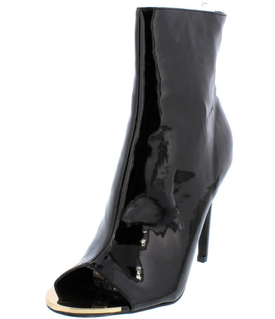 Cliff02 Black Pat Pu High Shine Peep Toe Stiletto Heel Boot - Wholesale Fashion Shoes