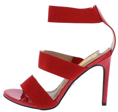 Cliff12 Red Pat Pu Open Toe Tri Band Stiletto Heel - Wholesale Fashion Shoes