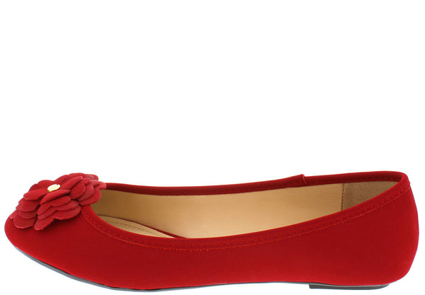 647fb8ad46f Clore64 Red Nubuck Flower Toe Ballet Flat