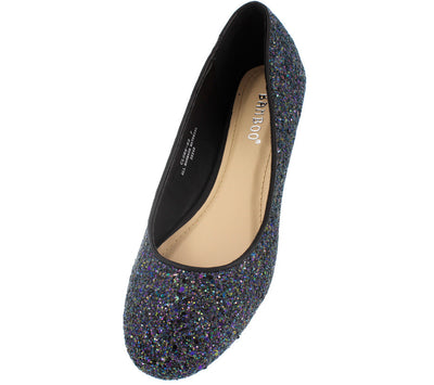 Clore93 Black Glitter Ballet Flat - Wholesale Fashion Shoes
