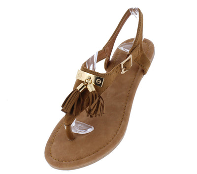 Clover1 Tan Tassel T Strap Slingback Thong Sandal - Wholesale Fashion Shoes