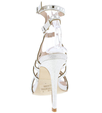 Club22 Silver Sparkle Open Toe Strappy Cut Out Heel - Wholesale Fashion Shoes