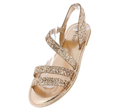 Coastline71s Rose Gold Glitter Cross Strap Slingback Sandal - Wholesale Fashion Shoes