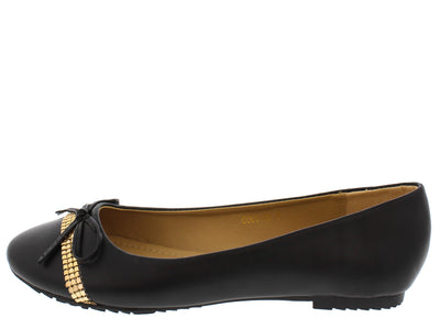 Coco18 Black Studded Strip Bow Ballet Flat - Wholesale Fashion Shoes