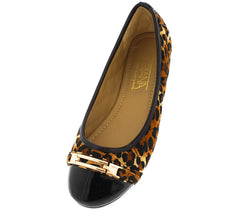 COCO55 LEOPARD QUILTED PATENT TOE BALLET FLAT - Wholesale Fashion Shoes