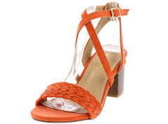 COLBY05 RUST WOVEN CROSS STRAPS CHUNKY STACKED HEEL - Wholesale Fashion Shoes