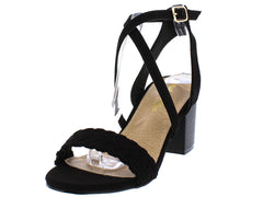 COLBY05 BLACK WOVEN CROSS STRAPS CHUNKY STACKED HEEL - Wholesale Fashion Shoes