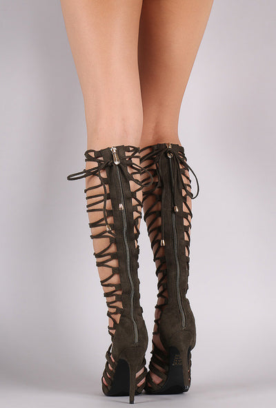 Colima1 Olive Open Toe Multi Lace Up Knee High Boot - Wholesale Fashion Shoes