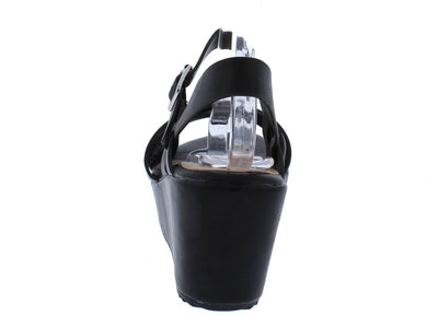 Collect06s Black Sliced Cross Strap Open Toe Platform Wedge - Wholesale Fashion Shoes
