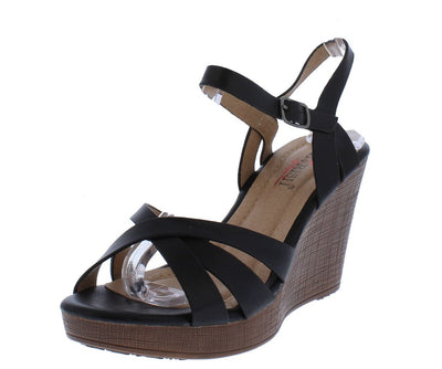 Collyn2 Black Cross Strappy Peep Toe Slingback Wedge - Wholesale Fashion Shoes