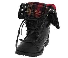 COMBOOT005KM BLACK PLAID COMBAT KIDS BOOT - Wholesale Fashion Shoes