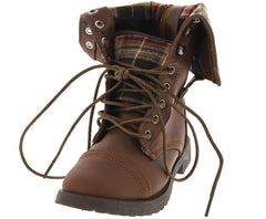 COMBOOT005KM CAMEL PLAID COMBAT KIDS BOOT - Wholesale Fashion Shoes