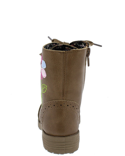 Comboot521ks Tan Multi Fabric Stitch Flower Infant Boot - Wholesale Fashion Shoes