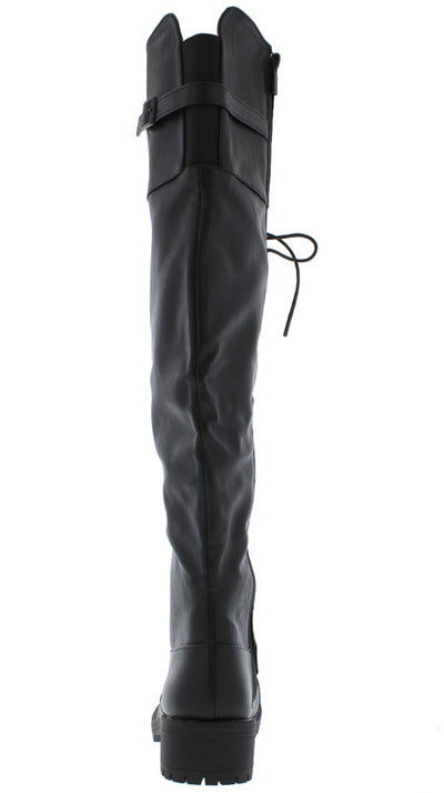 COMMANDER BLACK PU KNEE HIGH COMBAT LUG BOOT - Wholesale Fashion Shoes