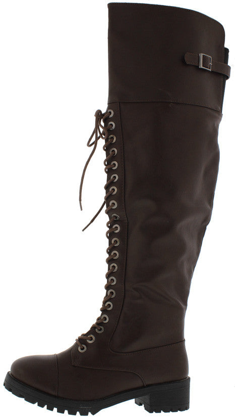 d4eed137a45 Commander Brown Pu Knee High Combat Lug Boot