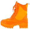 Commander Orange Lace Up Combat Lug Sole Boot - Wholesale Fashion Shoes