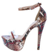 Confess161x Blush Multi Snake Open Toe Platform Heel - Wholesale Fashion Shoes
