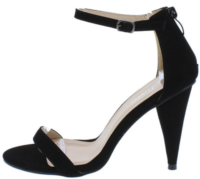 Conical11 Black Nubuck Pointed Toe Ankle Strap Tapered Heel - Wholesale Fashion Shoes
