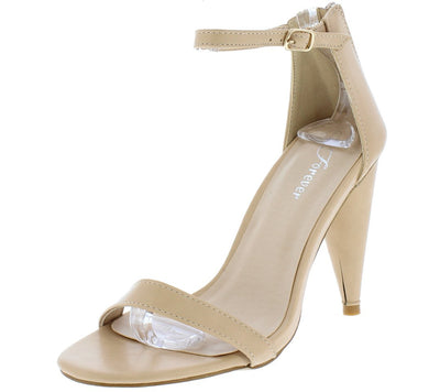 Conical11 Nude Pu Pointed Toe Ankle Strap Tapered Heel - Wholesale Fashion Shoes