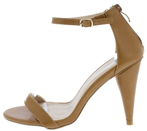 dea78ef000c5 Conical11 Tan Pu Pointed Toe Ankle Strap Tapered Heel - Wholesale Fashion  Shoes