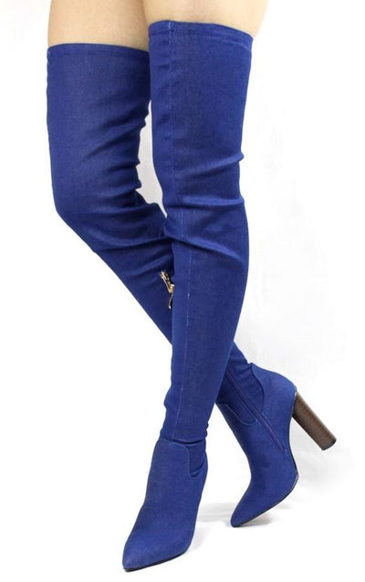 Connie10 Denim Thigh High Pointed Toe Stacked Heel Boot - Wholesale Fashion Shoes