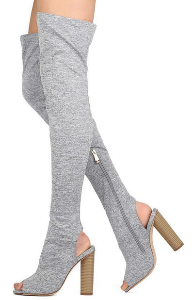 Connie1 Grey Thigh High Peep Toe Stacked Heel Boot - Wholesale Fashion Shoes