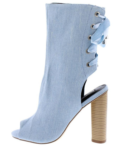 Connie50 Denim Peep Toe Heel Cut Out Rear Lace Up Boot - Wholesale Fashion Shoes