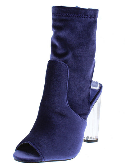 Connie6 Purple Suede Peep Toe Lucite Heel Boot - Wholesale Fashion Shoes