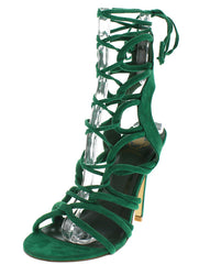 CORA01 GREEN STRAPPY OPEN TOE CAGED LACE UP HEEL - Wholesale Fashion Shoes