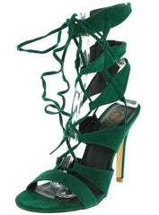 CORA04 GREEN OPEN TOE CAGED LACE UP HEEL - Wholesale Fashion Shoes