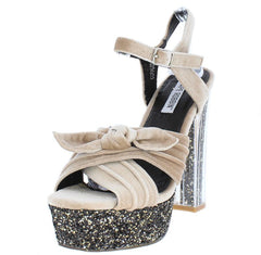 CORALEE2 NUDE VELVET BOW GLITTER PLATFORM LUCITE HEEL - Wholesale Fashion Shoes